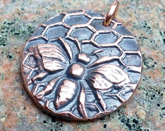 Copper Honey Bee Pendant, Honeycomb, Rustic Jewelry, Focal Pendant, Summer Insect