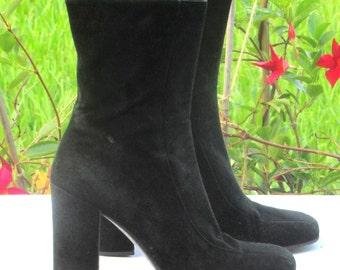 SZ.9 Ankle Boots Vintage Viva Spiga Black Suede Ankle Boots Block Heel Boots
