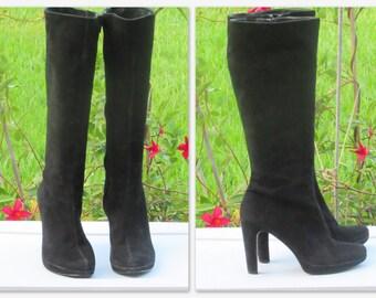 Sz 8M Knee High Boots  Black Suede High Heel Platform Boots