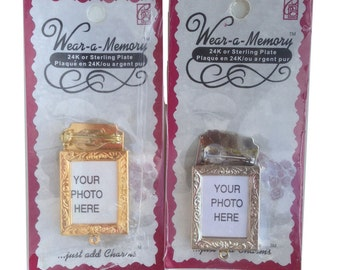 Silver or Gold Mini Photo Picture Art Frame  Pin Back