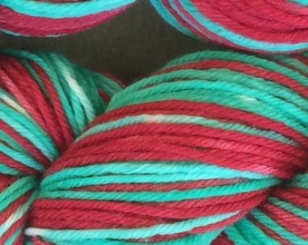 Vintage Christmas self striping yarn worsted weight - in stock, ready to ship