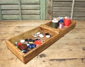 Free Shipping Vintage Wooden tray Desk organization, Catch All, Organize Storage Divided Sections