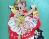 Vintage Hinged Valentine Card-Flower Pixie-Made in USA