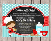 PRINTABLE Little Chef Birthday Party Invitation / Baking Party, Cookie Party, Cookie Baking / Choose Hair Color & Boy or Girl / You Print