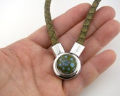 Interchangeable snap charm chunk popper jewelry leather magnetic necklace
