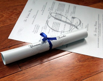 Double Sided Scroll Wedding Programs with Pearlescent Paper- variety of colors available
