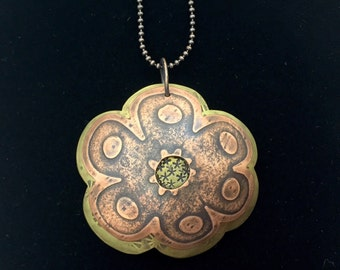 Boho Floral Pendant Necklace - Copper and Brass 2-part Floral Pendant - SayLaVee - Urban Romantic Modern