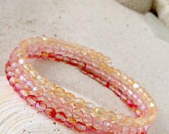 Glass Beaded Bracelet - Bead Bracelet - Memory Wire Bracelet - Summer Beaded Bracelet - Blue and Green Bracelet - Gift for Women