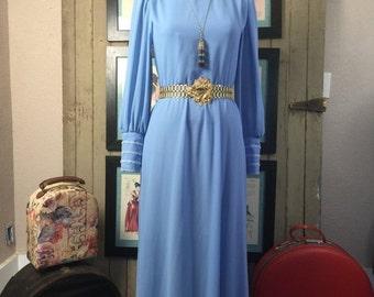 1970s maxi dress 70s blue dress size medium Vintage dress puff sleeve dress avant garde gown
