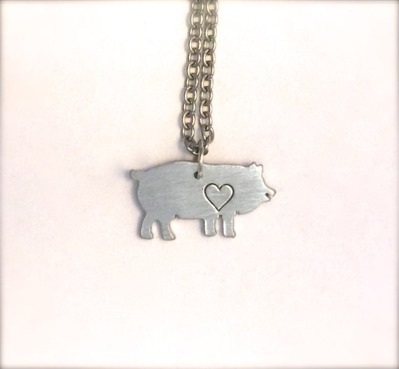 Mini Pig with Heart Necklace-Vegan Jewelry-Recycled Metals-Customizable-Gift