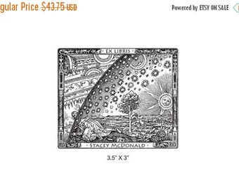 Xmas in July Flammarion Engraving Antique Art  Personalized Bookplate Ex Libris Rubber Stamp J01