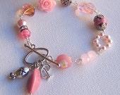 Personalized Breast Cancer Awareness Bracelet, Hope Breast Cancer Gifts, Breast Cancer Survivor, Personalized Jewelry, Flower Jewelry
