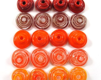 Handmade Lampwork Beads Glass, Lampwork beads set, Cone Shape Bead Caps, red and orange(20) SRA