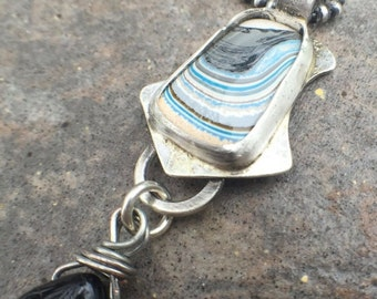 25% OFF - Fordite Sterling Silver Bold Statement Necklace