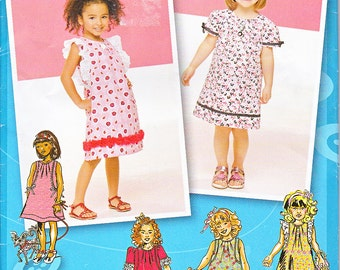 Simplicity 1890 Toddlers Girls Dresses Project Runway Sewing Pattern Sizes 4 5 6 7 8 Out of Print UNCUT