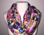 Pink Girl Power Wonder Woman Batwoman Supergirl Comic Book Circle Infinity Scarf