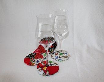 Holiday Lights Fabric Wine Coasters set of 6