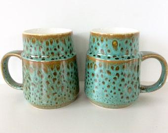 Poole Pottery Mugs, Sea Crest, Rare. Pair of Small Coffee Mugs. Mid Century Modern Tableware. Sydenham, Reactive Glaze - Aqua Blue Green.