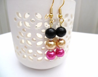 Hot Pink and Gold Pearl Earrings, Pink Bridesmaid Earrings, Jewelry For Bridesmaids, Beaded Earrings, Wedding Jewelry, Dangle Earrings