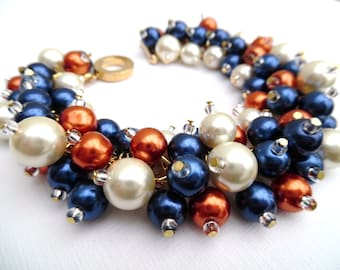 Navy Blue Burnt Orange and Ivory Pearl Beaded Bracelet, Wedding Jewelry, Bridesmaid Bracelet, Cluster Bracelet, Navy Blue Wedding Theme