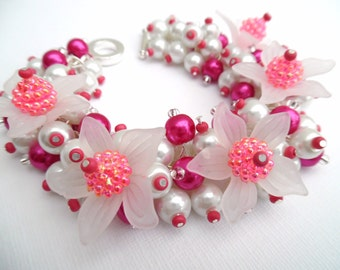 Hot Pink and White Bracelet with Pearls and Flowers, Gift For Her, Chunky Jewelry, Cluster Bracelet, Pink Bracelet, Floral Jewelry