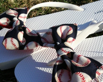 BASEBALL Flip Flop Sandals Licensed fabric handmade to your shoe size