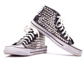 Black STUDDED Keds Spiked High Tops Sneakers Punk Goth Footwear Sex Pistols Style Urban Hipster Ironic Shoes  US men 8 UK 7.5 Eur 41.5
