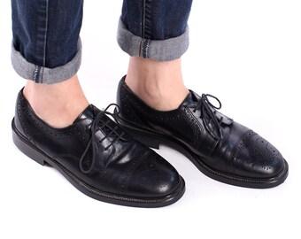 BROGUE Shoes 90s Mens Leather Black 1990s Lace up Cap Toe Perforated Vintage Derby Oxford European Shoe Men Gift Eur 40, Us men 7.5, Uk 7