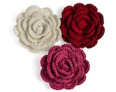 Crochet roses - 3 handmade crochet flowers in red, dusty pink and white, sew on appliques, wedding flowers, handmade flowers, wedding decor
