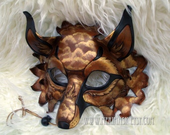READY TO SHIP Amber Cloud Fantasy Fox  ...hand made leather mask masquerade costume mardi gras halloween burning man