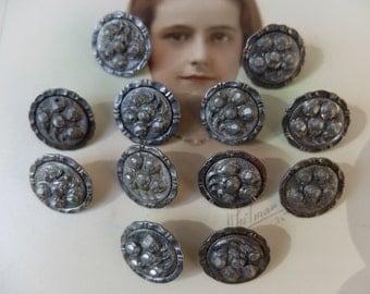 Vintage Buttons Steel Antique Set of 12