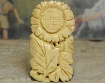 Vintage Bone Carved Flower Dress Clip Japan