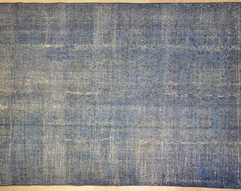 Rug Overdyed Vintage Light Indigo Blue 6.5'x10'