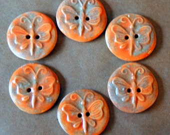 6 Handmade Ceramic Buttons - Butterfly Buttons in Golden Summery Orange