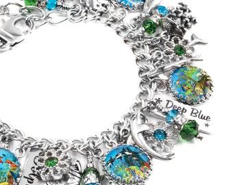 Ocean Bracelet, Beach Bracelet, Sea Jewelry, Nautical Jewelry, Nautical Charms, Summer Charm Bracelet