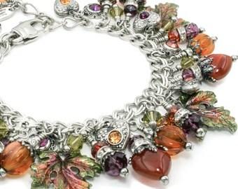 Autumn Charm Bracelet - Fall Bracelet - Carnelian Jewelry - Leaf Jewelry - Leaves Bracelet - Stainless Steel Bracelet