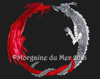 Red and White Alchemy Dragons Fantasy Print Druid Symbol Celtic Arthurian Mythic Pagan Art Pen and Ink Watercolour Illustration