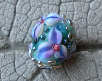 Purple Violet Floral Lampwork Beads by Cherie Sra R114 Flameworked Floral Focal Beads Lilac  Bead Flower Violet Floral Silver Glass Bead