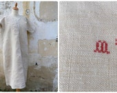 Vintage Antique 1890 /1900 French  hemp shirt / nightgown with red cross stiched monogram & cotton lace / size M/ L/XL