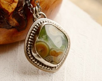 Ocean Jasper Necklace, Modern Rustic Metalwork Pendant, Silver and Stone Jewelry, Bezel Set Stone Necklace
