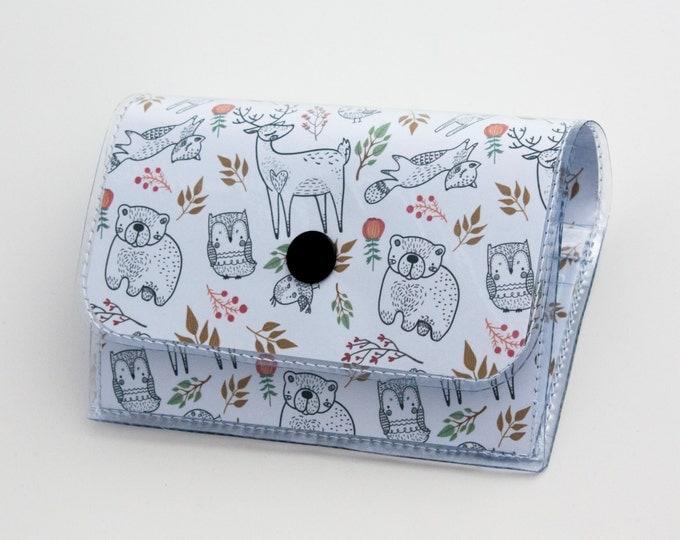 Handmade Vinyl Accordion Wallet - In the Woodland / small wallet, snap, cute, card case, vinyl wallet, women's wallet, deer, gift, woodland