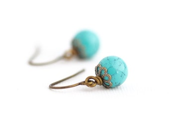 Birds Egg Earrings - Turquoise Earrings - Boho Earrings -  Small Earrings - Beaded Earrings - Gift For Woman - Gift For Her - Aqua Earrings