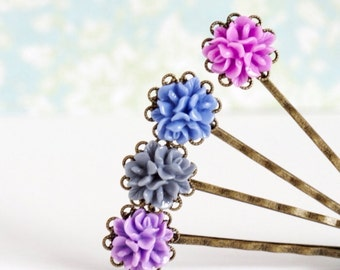 Flower Hair Pins, Bobby Pins  - Vintage Style Hair Pins - Purple, PInk, Gray, Blue, Gift  For Girl, Gift For Her, Gift For Woman
