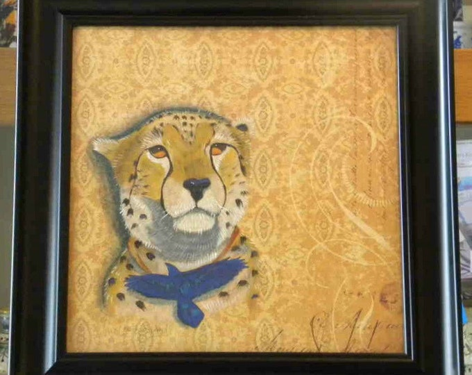 BIG SALE ORIGINAL painting mixed media Cheetah Talisman
