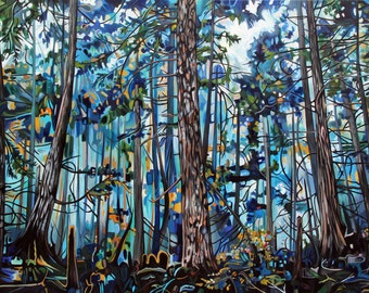 "CANVAS PRINT Misty Blue Forest Painting 12x8"" 24x16"" 30x20"" or 36x24"""