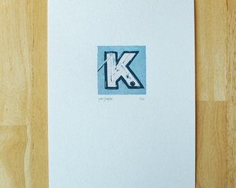 Letter K — Letterpress Print