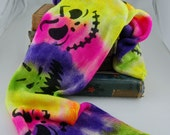 Dyed to order -Sparkle sock Blank-Neon Jack- Stripes of florescent colors with black scary Halloween faces stenciled on Top