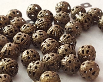 Antiqued Bronze filigree beads 6mm (50)