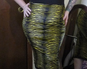 Yellow  and Black Velvet Tiger Animal Print Long Pencil Skirt Rockabilly Psychobilly Punk Sale