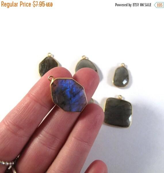 HOT SALE - Labradorite Charm, Gold Plated Gorgeous Gemstone Pendant with Flash, Bezel Set Labradorite, Jewelry Supplies (C-Lab6)